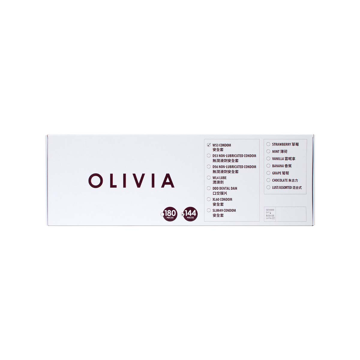Olivia W53 max-lubricated 144 pieces bulk pack Latex Condom