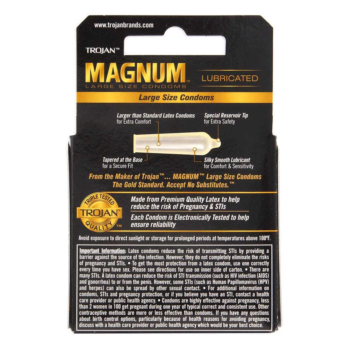 Trojan Magnum 62/55mm 3's Pack Latex Condom