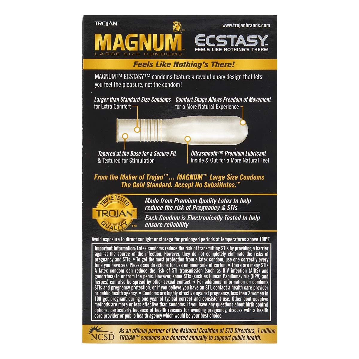 Trojan Magnum Ecstasy 72/55mm 10's Pack Latex Condom