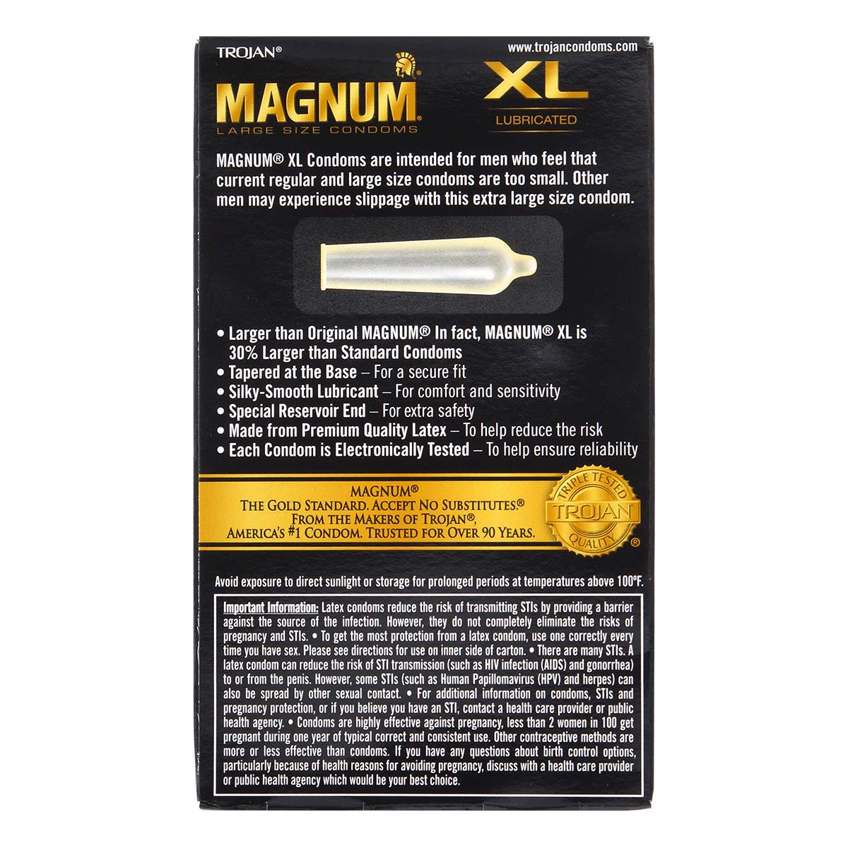 Trojan Magnum XL Extra Large 64/58mm 12's Pack Latex Condom