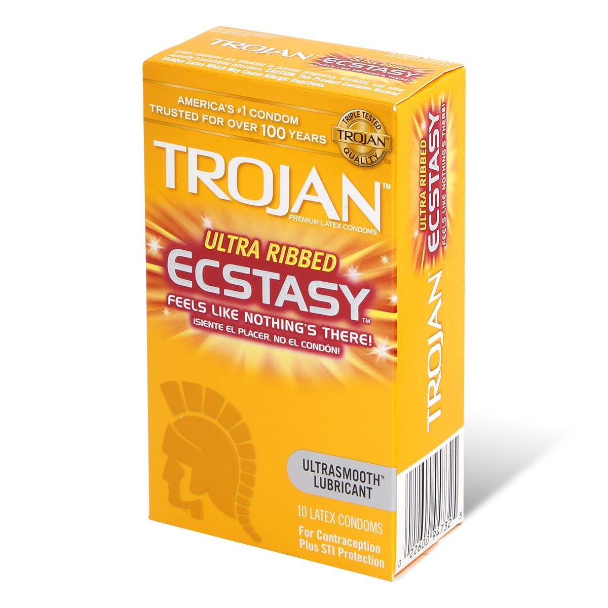 Trojan Ultra Ribbed Ecstasy 72/52mm 10's Pack Latex Condom