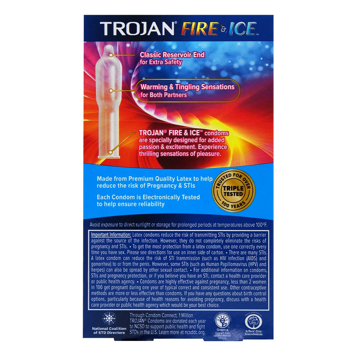 Trojan Fire & Ice Lubricated 10's Pack Latex Condom
