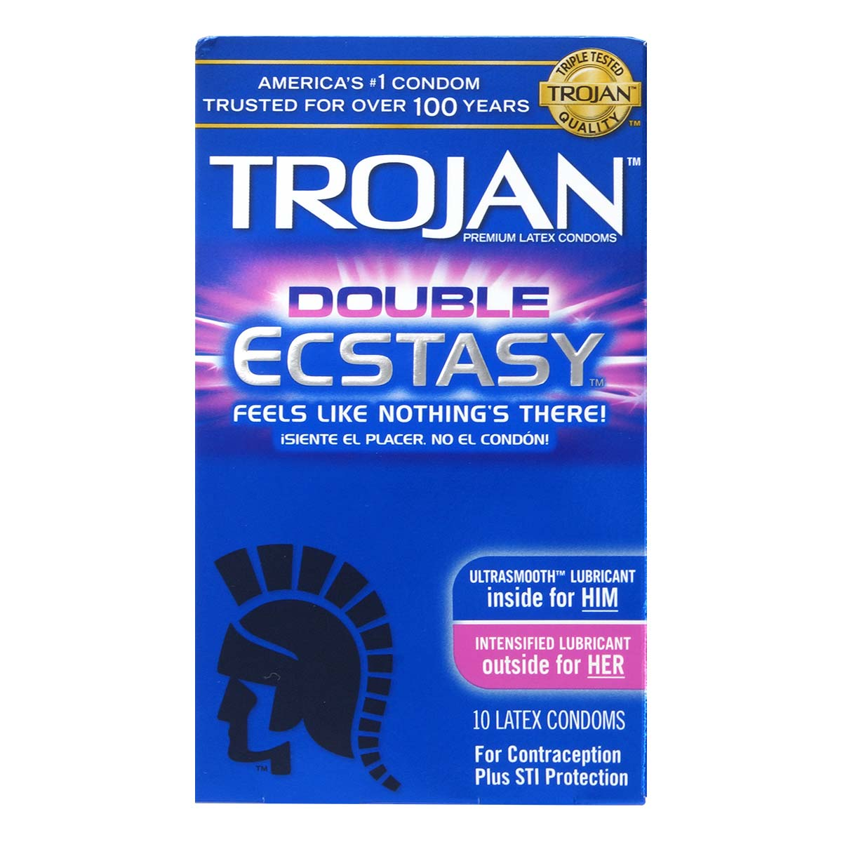 Trojan Double Ecstasy 72/52mm 10's Pack Latex Condom
