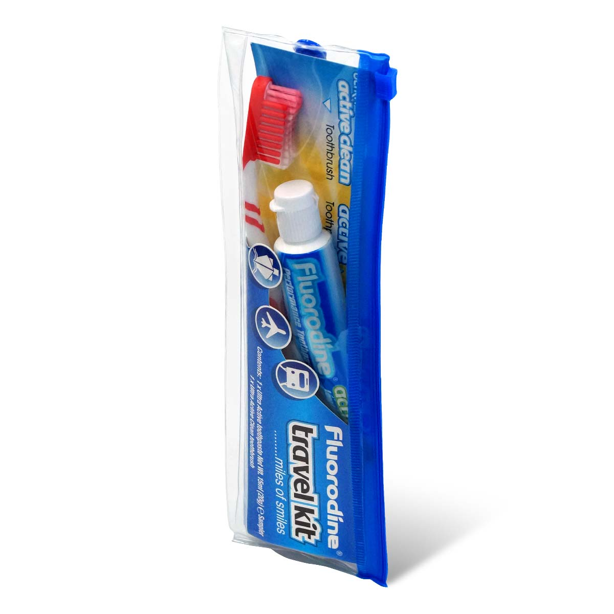 Fluorodine travel kit toothbrush & toothpaste