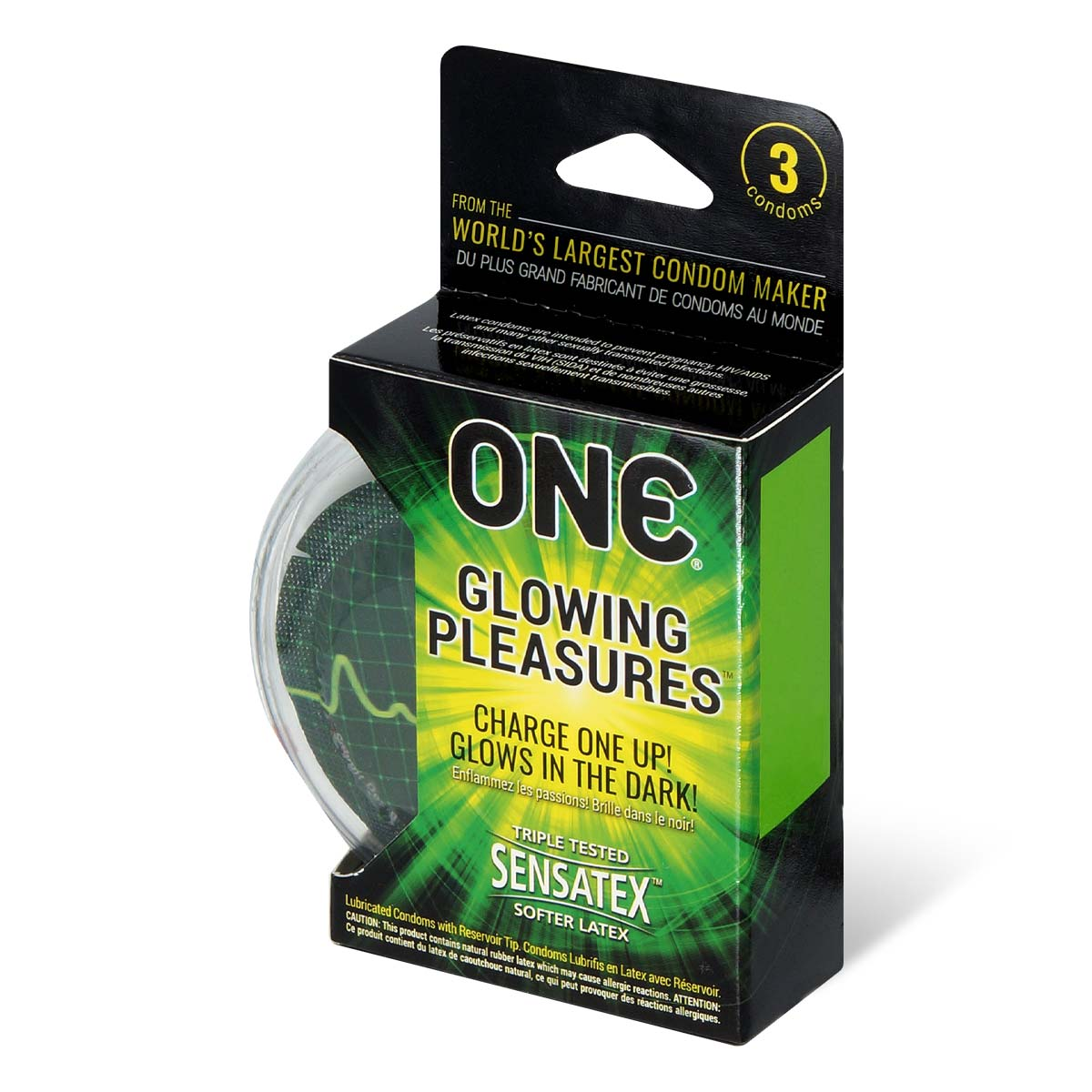 ONE Glowing Pleasures 3's Latex Condom