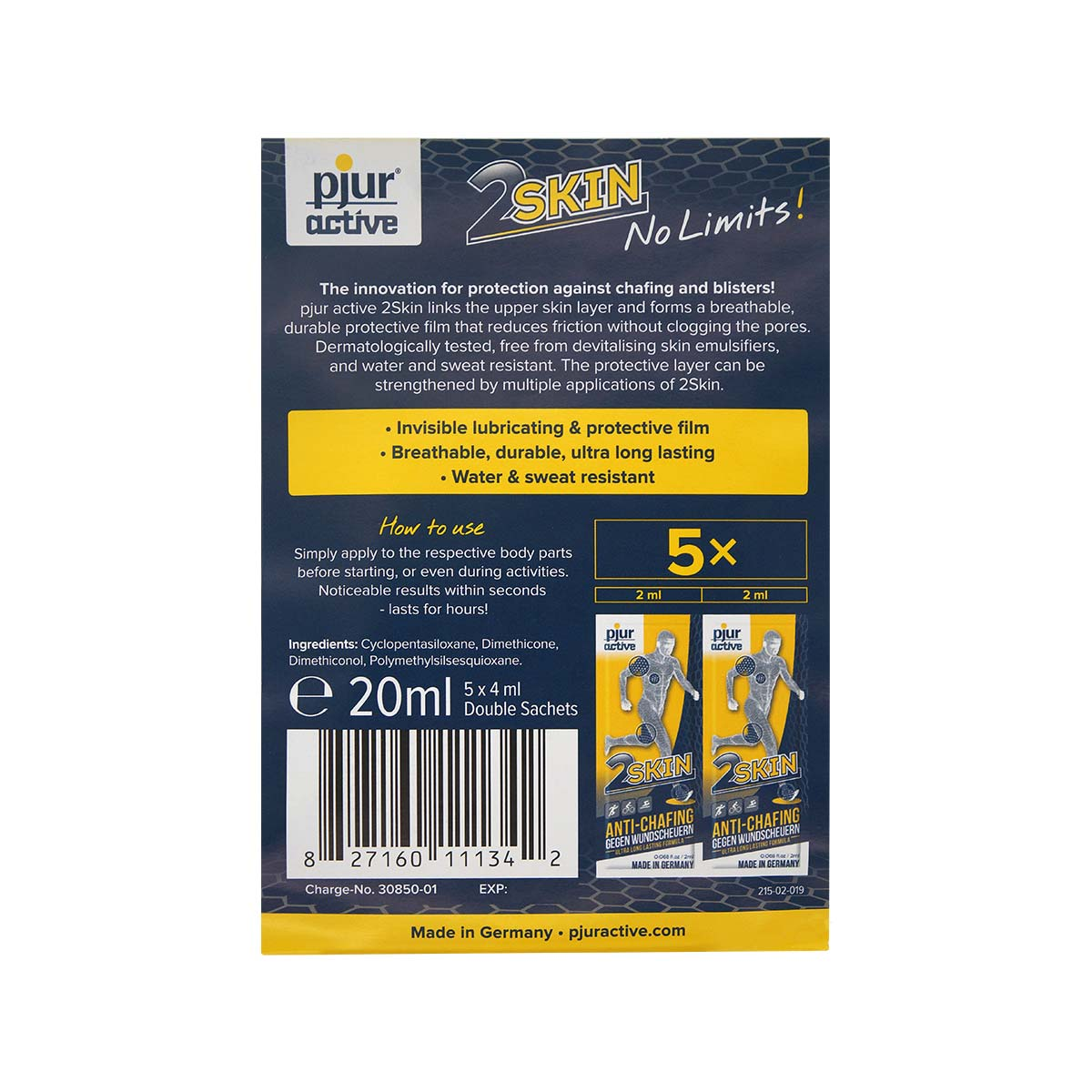 pjuractive 2skin ANTI-CHAFING GEL - 2 x 2ml double sachet (5pack)