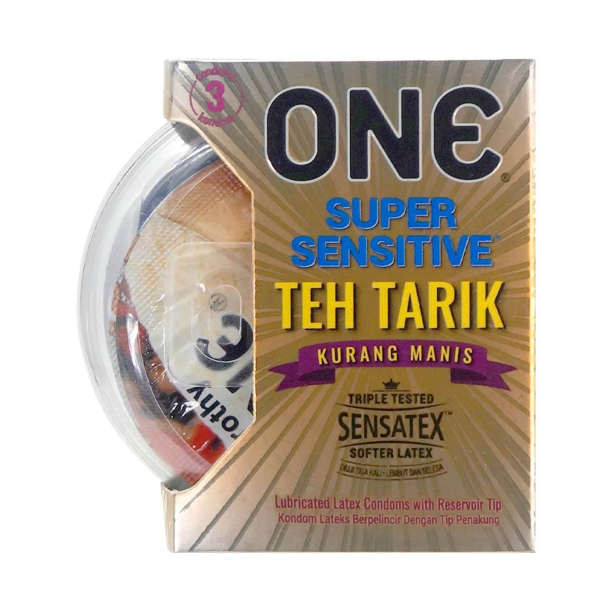 ONE Super Sensitive Teh Tarik Kurang Manis 3's Pack Latex Condom